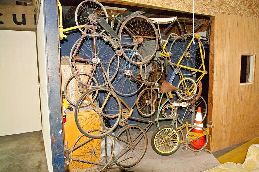 A gate made of old bikes.
